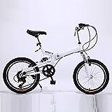 ZDXC Bicicleta de Velocidad Variable Plegable de 20 Pulgadas - Coche Plegable para Estudiantes Adultos Bicicleta de Amortiguación de Bicicletas para Hombres y Mujeres (Color: Azul, Negro, Blanco)