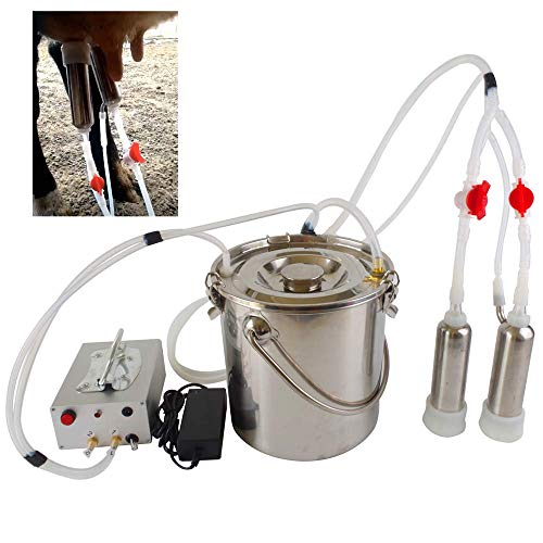 Futt Single Bucket Piston Vacuum Ultra-Strong Frequency Pulsation Milking Machine for Cows Cattle or Sheep Optional (14L, Cow)