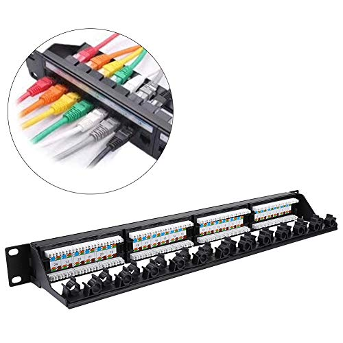Affordable Rosvola CAT6 Cable Patch Panel Data Patch Panel, Network Tool CAT6 Cable Rack, 24 Port Mountable Machine Room Construction for Weak Current Wiring