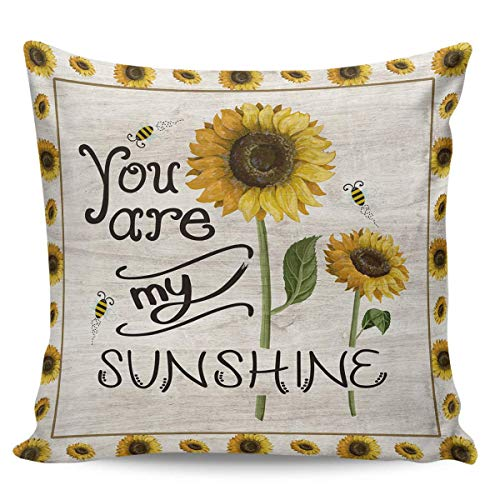 W-wishes Throw Pillow Covers Cases,Sunflower, You are My Sunshine Cushion For Home Decoration, 18 x 18 Inch