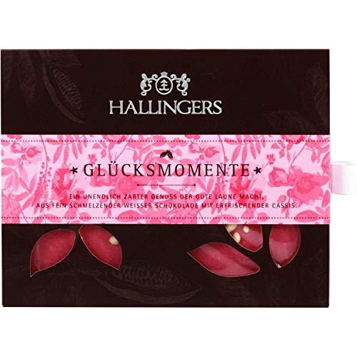 Hallingers Weiße Schokolade mit Cassis hand-geschöpft (90g) - Glücksmomente (Tafel-Karton) - zu Liebe & Hochzeit
