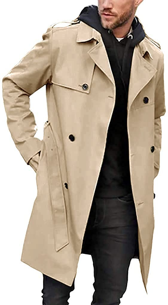 5 ☆ popular Men's Cheap Trench Coat Slim fit La Belted Breasted Double Windbreaker