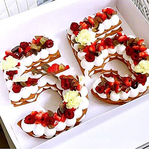 Kuchenformen mit 25,4 cm arabischen Zahlen, für Kuchendekoration, Kuchenbackwerkzeug für DIY Hochzeit, Geburtstag, Jahrestag, Weiß
