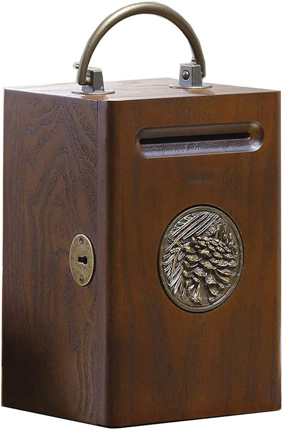 sale LiPengTaoHome Limited Special Price Piggy Bank Solid Wood Money with Resin Lock Box Pi