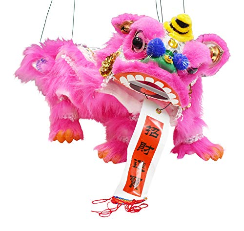 Mandala Crafts Hand String Puppet with Rod, Chinese Marionette Lion Toy, Hot Pink
