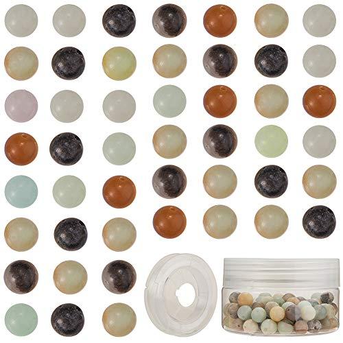 SUNNYCLUE 1 Scatola 100 Pezzi di Perline di Pietra Naturale Pietre Preziose Semipreziose Perline Sciolte Rotonde 8mm Pietre Vere Autentiche con Filo di Cristallo Elastico, Pietra Amazonite