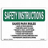 mefoll Señal de Instrucciones de Seguridad OSHA – Skate Park Rules Skate at Your Own Risk Tin Signs 8x12 Decoración de Pared