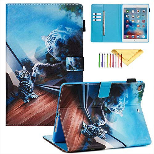 Case for Apple iPad 9.7' 2018/2017 (iPad 6th/5th 9.7 Case), iPad Air 2/1 Cover, Premium PU Leather Stand Cover with Smart Auto Wake/Sleep, Card Slots Wallet Design, Cat