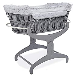 BEDSIDE CRIB - The clair de lune Bedside crib helps strengthen the bond between parent and baby, giving all the benefits of co sleeping without the risks of sleeping in the same bed ADJUSTABLE STAND - With 10 height settings, from 47.5cm to 62.5cm, t...