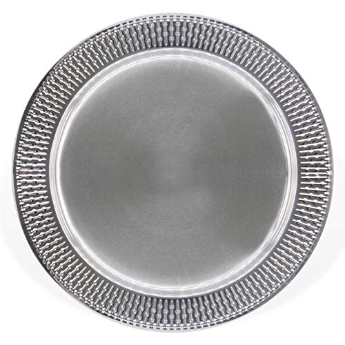 13Inch Stainless Steel Beaded Charger Plates 6Pcs Silver Dinner Plate Chargers Round Server Ware