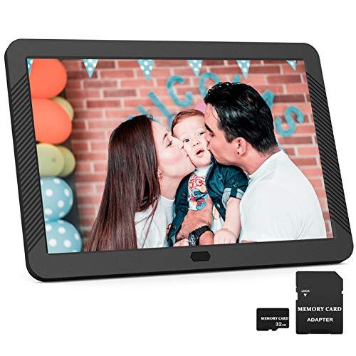 EastPoint 8 Zoll Digitaler Bilderrahmen, Fotorahmen mit 32GB SD Karte, Hochauflösend (1920x1080) IPS Bildschirm, Foto/Musik/Video-Player Kalender Wecker, unterstützt USB/SD-Karte bis zu 128GB,Schwarz