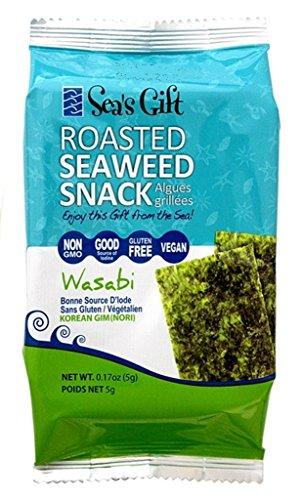 Sea's Gift Korean Seaweed Snack (Kim Nori), Roasted Wasabi, 0.17-Ounce (Pack of 24)