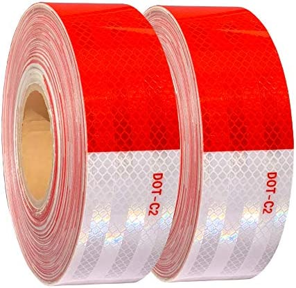 WAENLIR 2 inch x200Feet Reflective Tape DOT C2 Waterproof Red and White Adhesive Safety Conspicuity product image