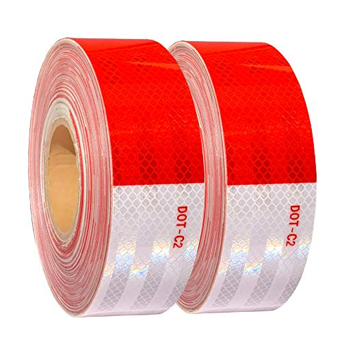 WAENLIR 2 inch x200Feet Reflective Tape DOT-C2 Waterproof Red and White Adhesive Safety Conspicuity reflector tape for trailer, Cars, Trucks, outdoor