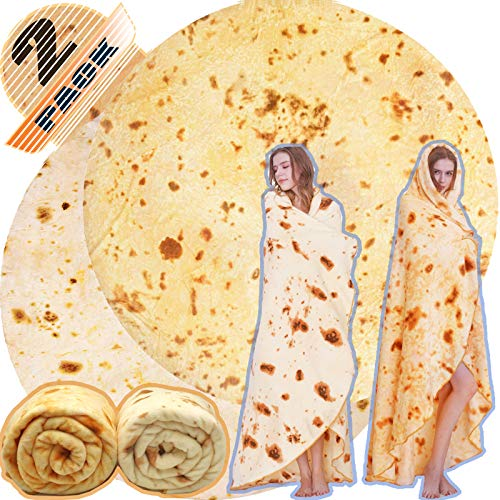Innocedear Burritos Blanket,2 Pack Double Side Flannel Tortilla Blanket 60inches,Comfortable Soft Novelty Giant Taco Blanket,Funny Gag Gifts for Adults&Kids-Style 1