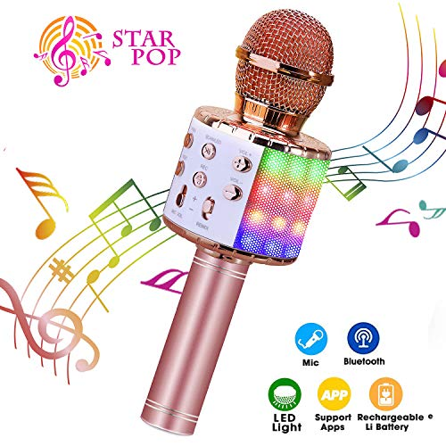 Karaoke Microphone, ShinePick 4 in 1 Wireless Bluetooth Microphone, Dancing...