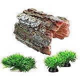 Decoraciones de pecera Acuario Decoración Pequeños Adornos Accesorios Fish Hides Driftwood Fragmentos Set (Marrón)