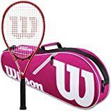 Wilson Federer Control 103 Tennis Racquet in Grip Size 4 3/8' Bundled with a Pink Advantage II Tennis Bag (Incredible Feel and Control)