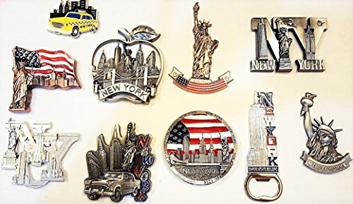 10 New York Fridge Magnets - Metal NYC Refrigerator Magnets Bottle Opener