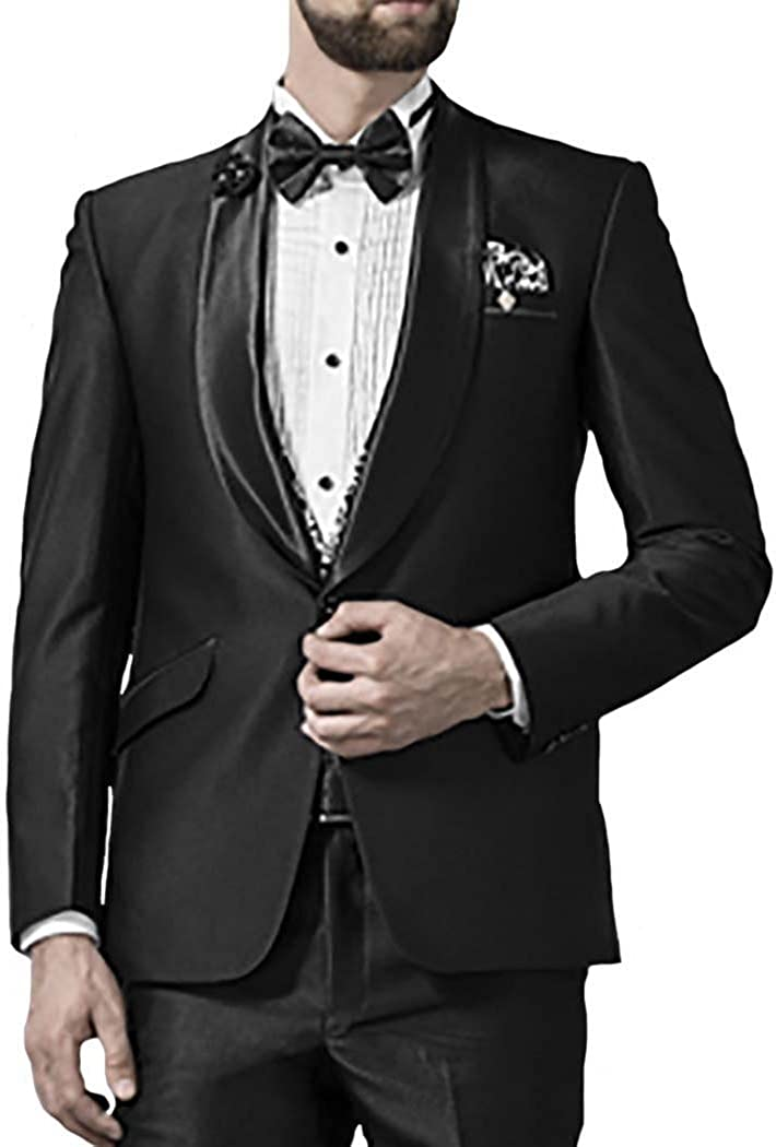 INMONARCH Mens Black 5 Pc Tuxedo Suit Formal Look One Button TX1009