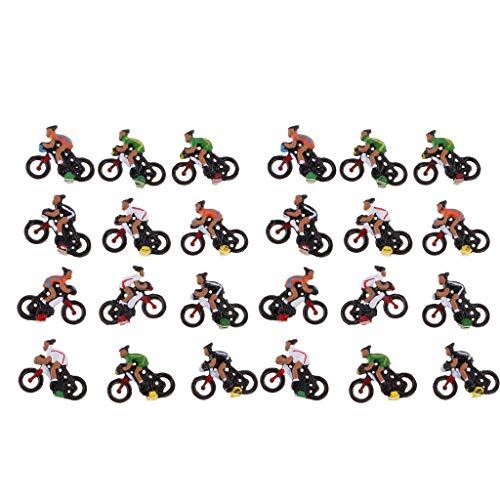 Homyl 24/Kit Cycliste Modèle Miniature pour Disposition DIY Paysage Table de Sable Echelle Ho 1/87