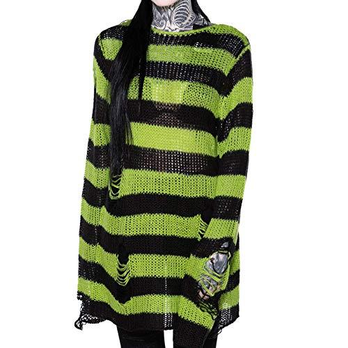 Soweilan Maglioni a righe casual da donna a maglia con foro strappato oversize Verde Taglia unica