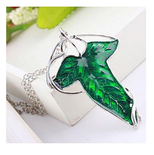 1 collar con colgante de hoja verde de elfo, diseño vintage de Señor de los Anillos