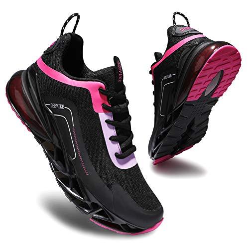 Deevike Sneaker Damen Laufschuhe Sportschuhe Turnschuhe Jogging Wanderschuhe rutschfest Stoßfest Schuhe Schwarz Rosa-37