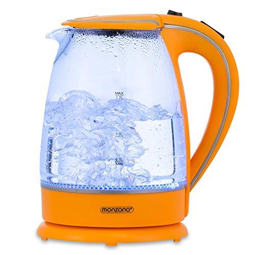 Bouilloire en verre 1,7L avec éclairage intérieur bleu LED 2200 Watts Orange Sans BPA
