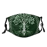 Wicca Life Magic Tree Yule Pagan Green Wiccan Year Reusable Mouth Cover with Filters Face Ma-Sk Windproof Balaclavas for Men Women