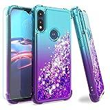 Moto E 2020 case,Motorola E case,with HD Screen Protector,M MAIKEZI Gradient Quicksand Glitter Bling Flowing Liquid Protective Cute Case for Motorola Moto E (2020)(Teal Purple)