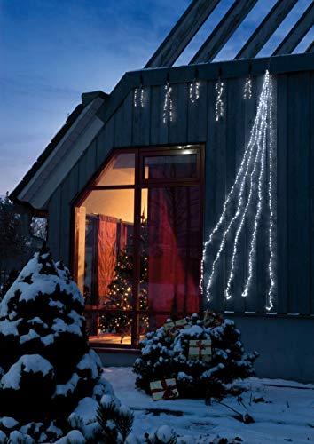 Hellum LED-Wasserfall, Außen, 5 Stränge a 288 weiße LEDs, 900cm Lichtlänge, Kabel transparent, Outdoor, Außen-Transformator, Ganzjahres-Dekoration, 565447