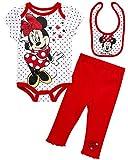 Disney Baby Girls 3 Piece Bodysuit Pant Set – Minnie Mouse Winnie The Pooh & Bambi (Newborn), (Size 3-6 Months, Red/White Minnie Polkadots)