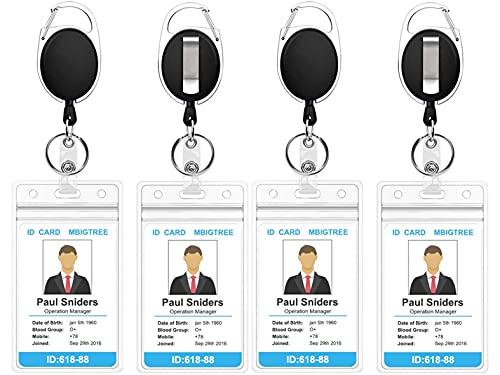 Been Portatarjetas retráctil con mosquetón y soporte vertical transparente para tarjetas identificativas, apto para empresa o escuela (4 unidades)