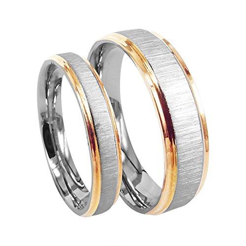 Everstone Anillo de bodas anillo de pareja Anillos de compromiso Titanio oro rosa Tamaño: 7-37