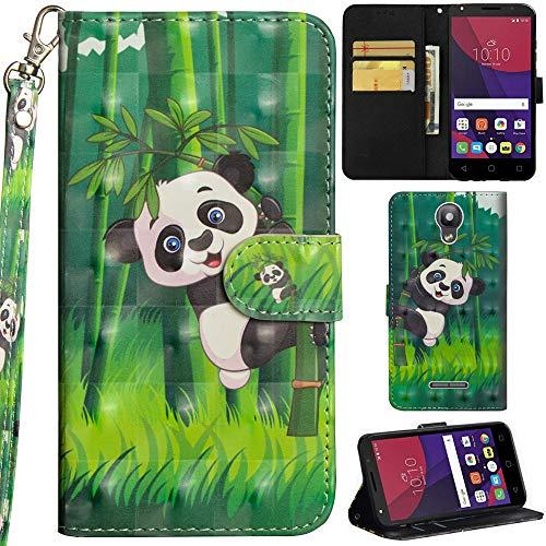 Ooboom Alcatel Pixi 4 5 Inch Hülle 3D Flip PU Leder Schutzhülle Handy Tasche Case Cover Ständer mit Trageschlaufe Magnetverschluss für Alcatel Pixi 4 5 Inch - Panda Bambus