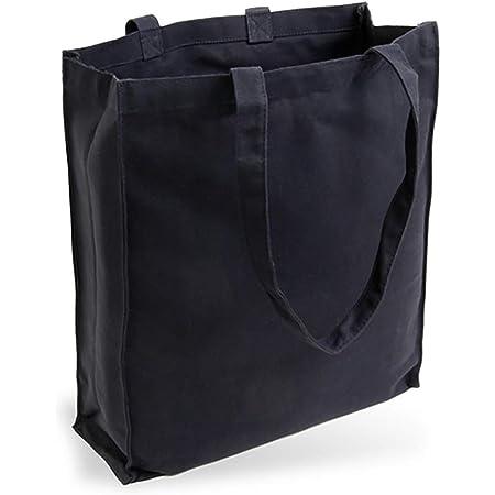 Cottonbagjoe Jutebeutel Canvastasche aus Jeansähnlichem Stoff (sehr robust und widerstandsfähig) unbedruckt mit Seiten-&Bodenfalte und Zwei Langen Henkeln 38x42x10cm (Schwarz)