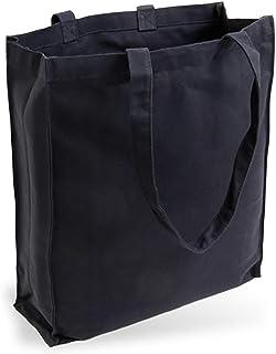 Cottonbagjoe Cottonbagjoe Jutebeutel Canvastasche aus Jeansähnlichem Stoff sehr robust und widerstandsfähig unbedruckt mit Seiten-&Bodenfalte und Zwei Langen Henkeln 38x42x10cm Schwarz