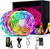 Waterproof LED Strip Light RGB Background Decorative Lamp with 44 Key Remote Controller Flexible Color Changing LEDs Light Strips Kit for DIY Decoration Home Bedroom Kitchen (4m/157.5inch)