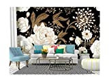Self Adhesive Wallpaper Roll Paper Peonies and roses Floral vintage seamless Gold and white flowers, Removable Peel and Stick Wallpaper Decorative Wall Mural Posters Home Covering Interior Film