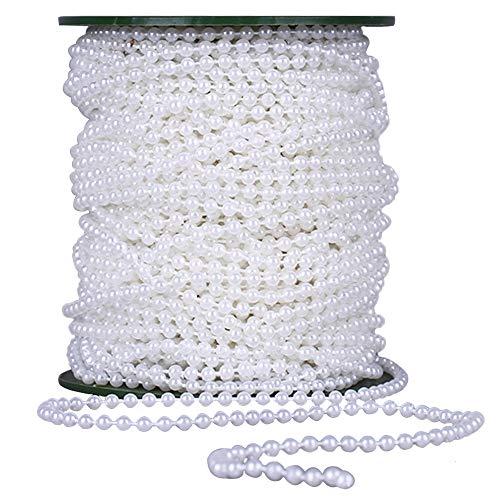 yyuezhi Perlenband Perlenkette Girlande Perlenkette DIY Handwerk Dekoration Perlengirlande Perlen Ketten Deko Perlengirlande für Hochzeit Braut Party Weihnachtsbaum Hausg Dekoration 25m (Weiß)