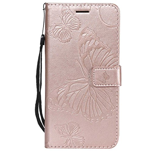 DENDICO Cover iPhone 7 Plus, Cover iPhone 8 Plus (5.5'), Pelle Portafoglio Custodia per Apple iPhone 7 Plus / 8 Plus Custodia a Libro con Funzione di appoggio e Porta Carte di cRossoito - Oro Rosa