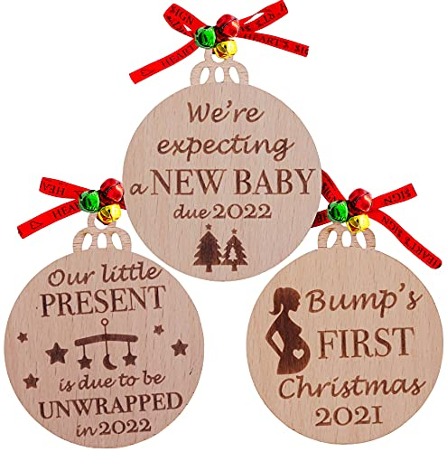 Product Image of the Heart's Sign Set of 3 Bumps First Christmas Ornament 2021 | Baby On The Way...