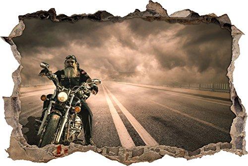 Pixxprint 3D_WD_S2008_62x42 bärtiger Biker mit Motorrad auf Straße Wanddurchbruch 3D Wandtattoo, Vinyl, bunt, 62 x 42 x 0,02 cm