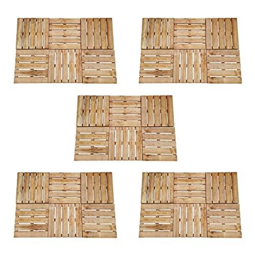 VIENDADPOW Baldosa de Porche 30 Unidades Madera marrón 50x50 cm