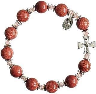 JMJ Products, LLC Precious Stone Rosary Bracelets with Swarovski Crystal, Amber