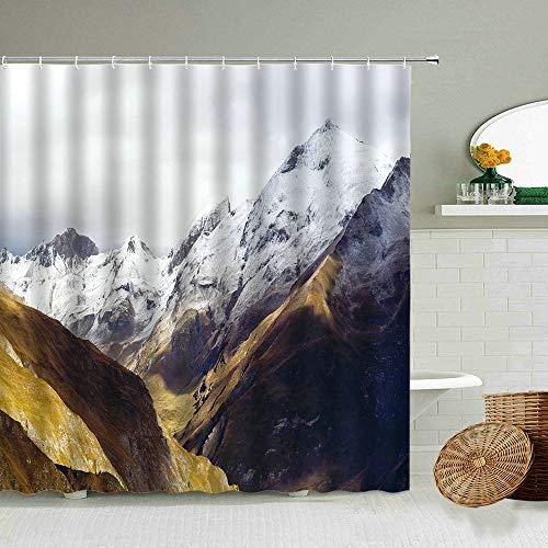 XCBN Paysage Naturel Rideau de Douche Neige Montagne forêt Hiver Alpinisme Salle de Bain Rideaux imperméables décoration de la Maison A4 180x200 cm