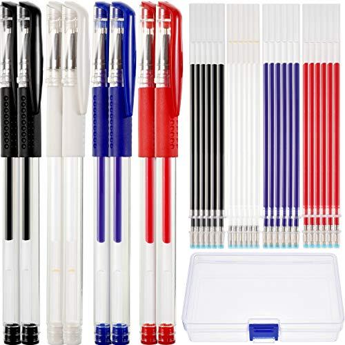 8 Stücke Hitze Löschbar Stifte Markierung Stifte mit 24 Stück Austauschbar Stifte Refills für Stoff Quilting Nähen Schneiderei, 4 Farben
