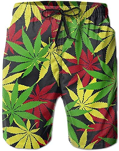 Belongtu Men Rasta Colors Weeds Beach Shorts Swimming Trunks Cargo Shorts Herren Strandshorts Strandhose Hot Pants