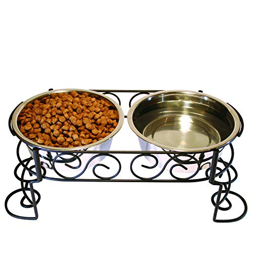 SPOT Mediterranean Double Diner Elevated Pet Bowls    Rustic And Stylish Dog Feeder   No Tools Required   3 Quart Dish   Promotes Healthy Eating  Stainless Steel Bowls